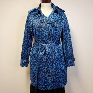 JOAN RIVERS Sateen Blue Leopard Belted Trench Coat